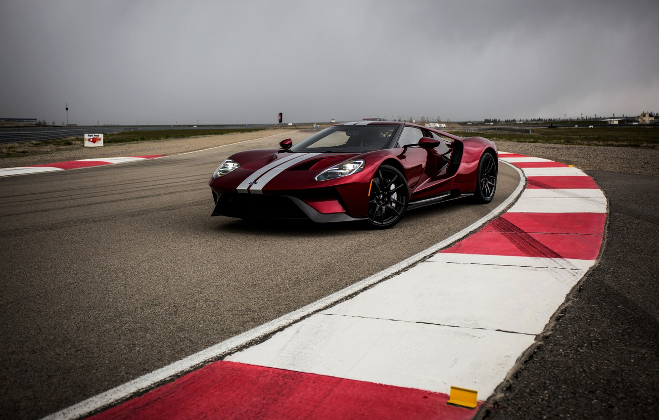 Photo wallpaper the sky, asphalt, overcast, markup, track, Ford, Ford GT, curbs