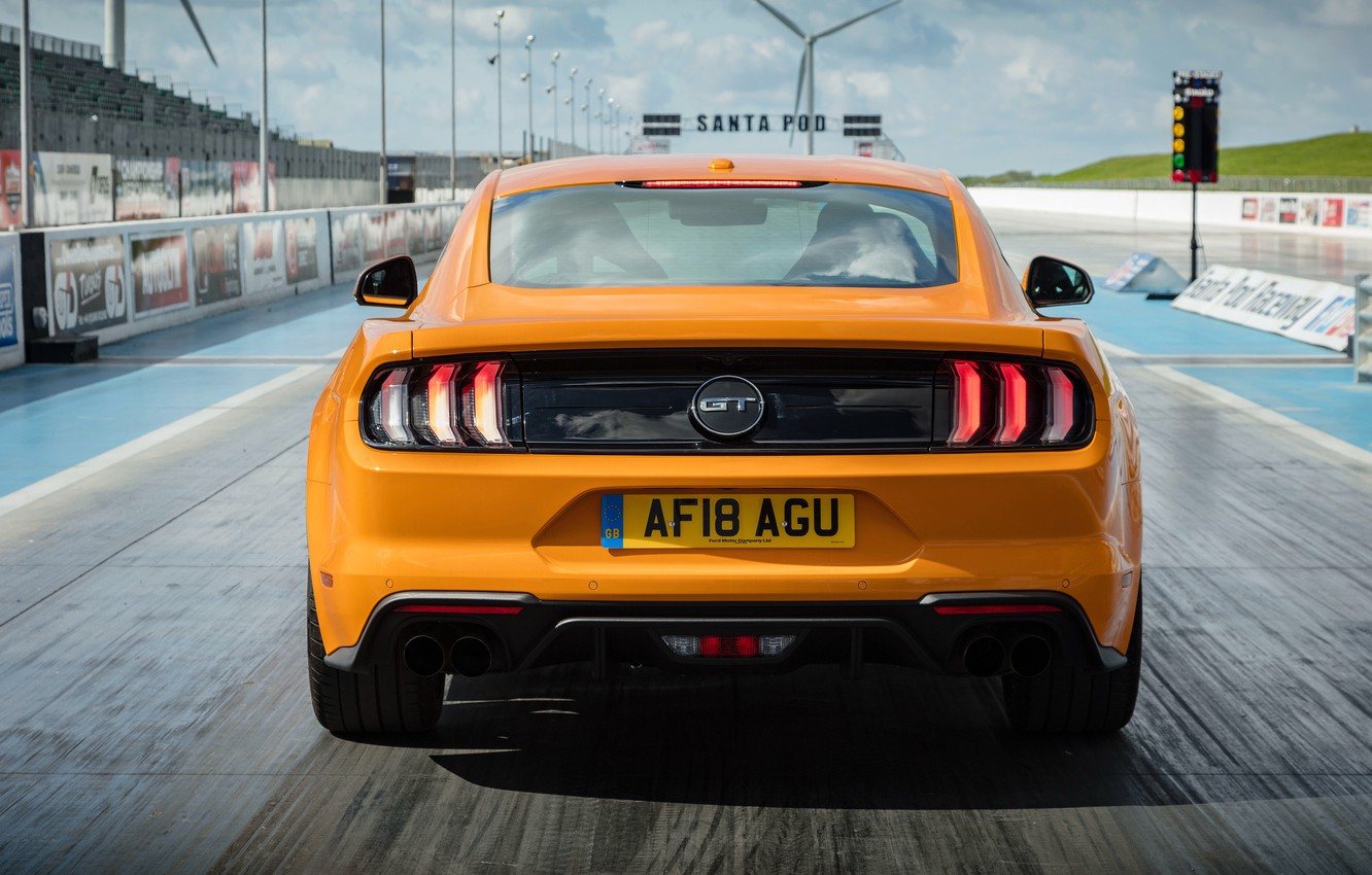 Photo wallpaper orange, Ford, rear view, Fastback, 2018, Mustang GT