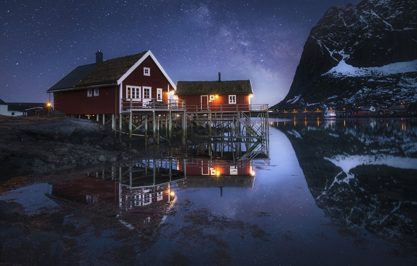 Photo wallpaper water, mountains, night, reflection, home, Norway, The milky way, Norway, the fjord, Nordland, The Lofoten …