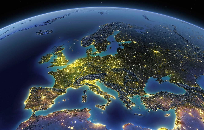 Photo wallpaper lights, planet, Earth, Europe, The Mediterranean sea