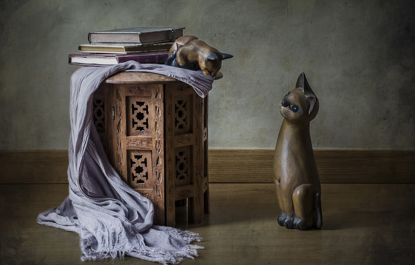 Photo wallpaper cats, style, books, figures, shawl, figurines