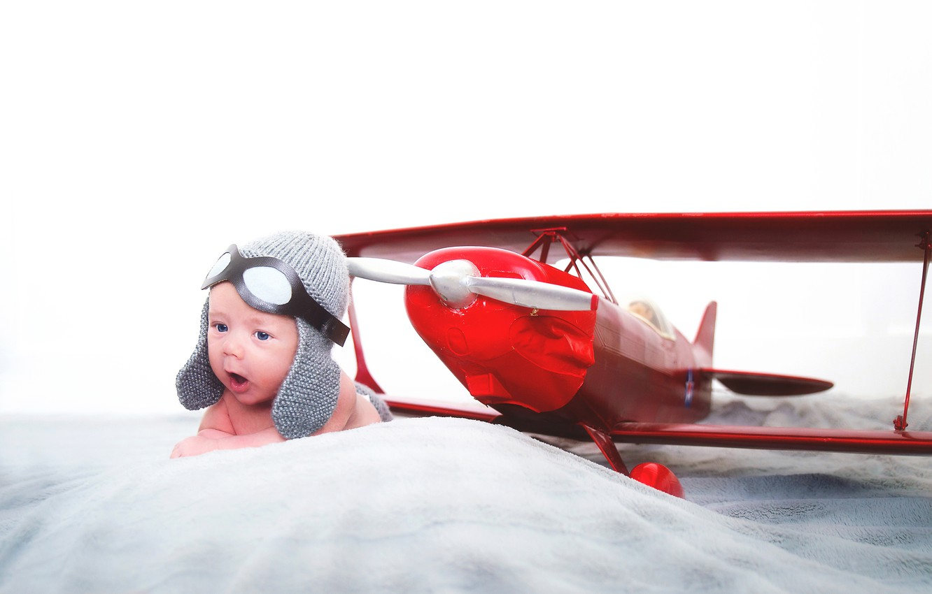 Photo wallpaper baby, the airplane, the plane, child, pilot, baby, headset