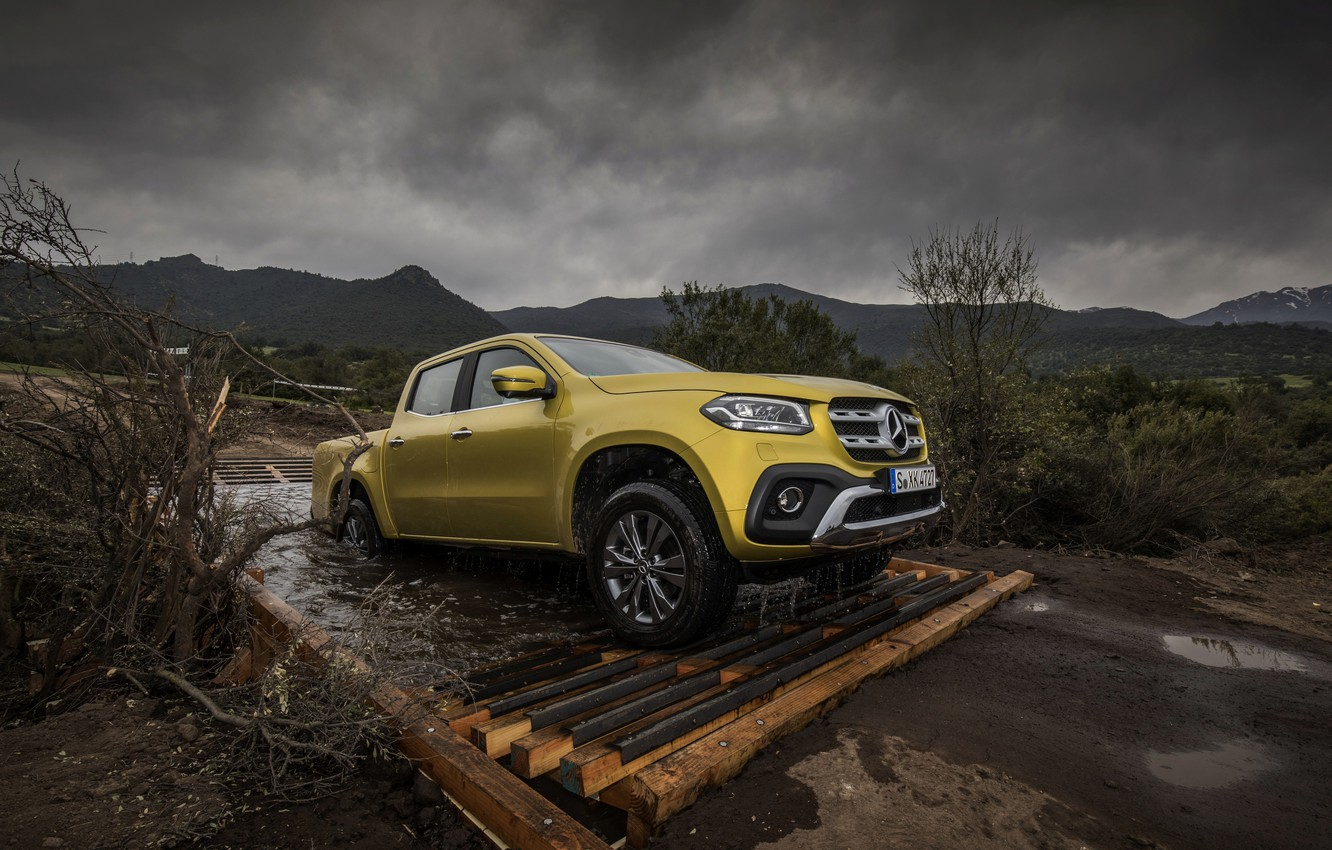 Photo wallpaper road, water, yellow, Mercedes-Benz, pickup, 2017, X-Class, drains