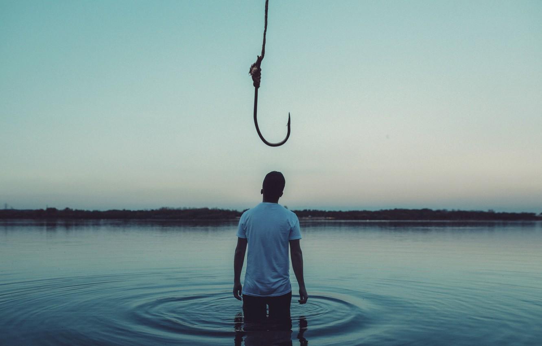 Photo wallpaper male, in the water, hook, Bird Man, Hooked