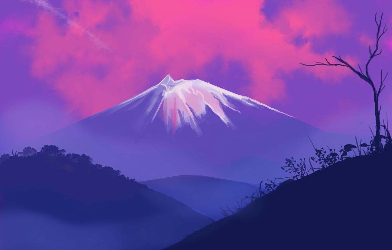 Photo wallpaper landscape, nature, sunset, Mountain, art, tree, hills, digital art, artwork, plants, silhouette, painting art, snowy …