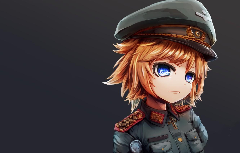 Photo Wallpaper Girl Sol R Military War Anime Chibi Blue Eyes