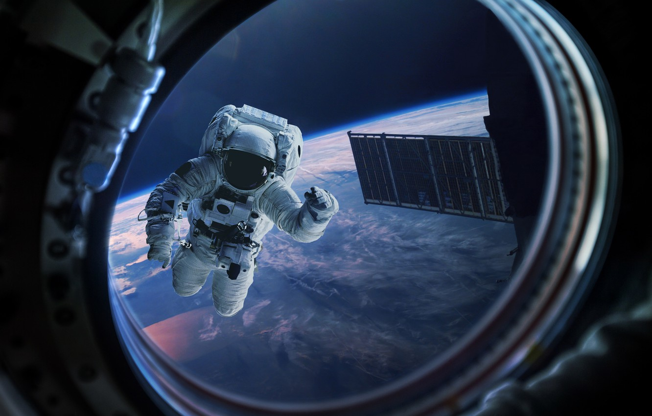 Photo wallpaper space, astronaut, the atmosphere, art, Earth, the window, gravity, beautiful, infinity, weightlessness, bokeh, space station, …