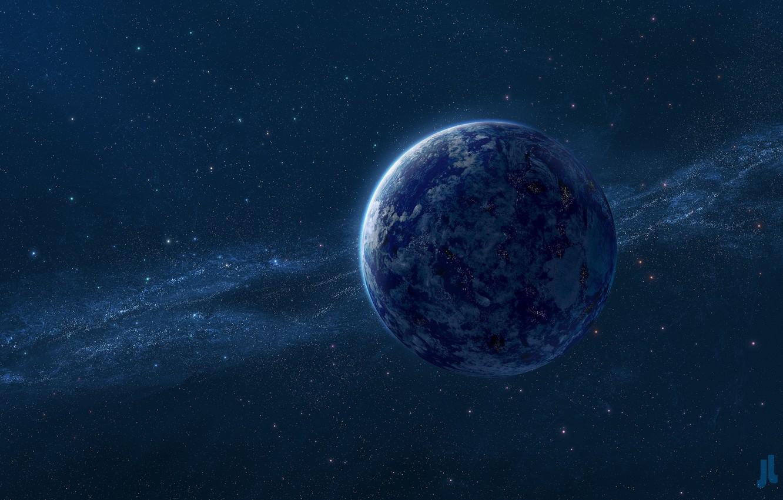 Photo wallpaper space, blue, planet, stars, the milky way, Josef Barton, Digital Universe, Blue planet