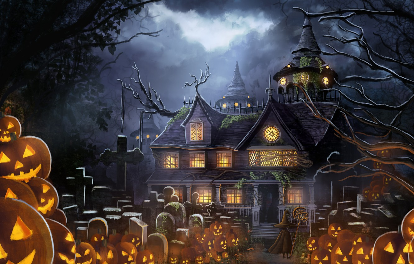 Photo wallpaper house, anime, pumpkin, Halloween, prazdnik