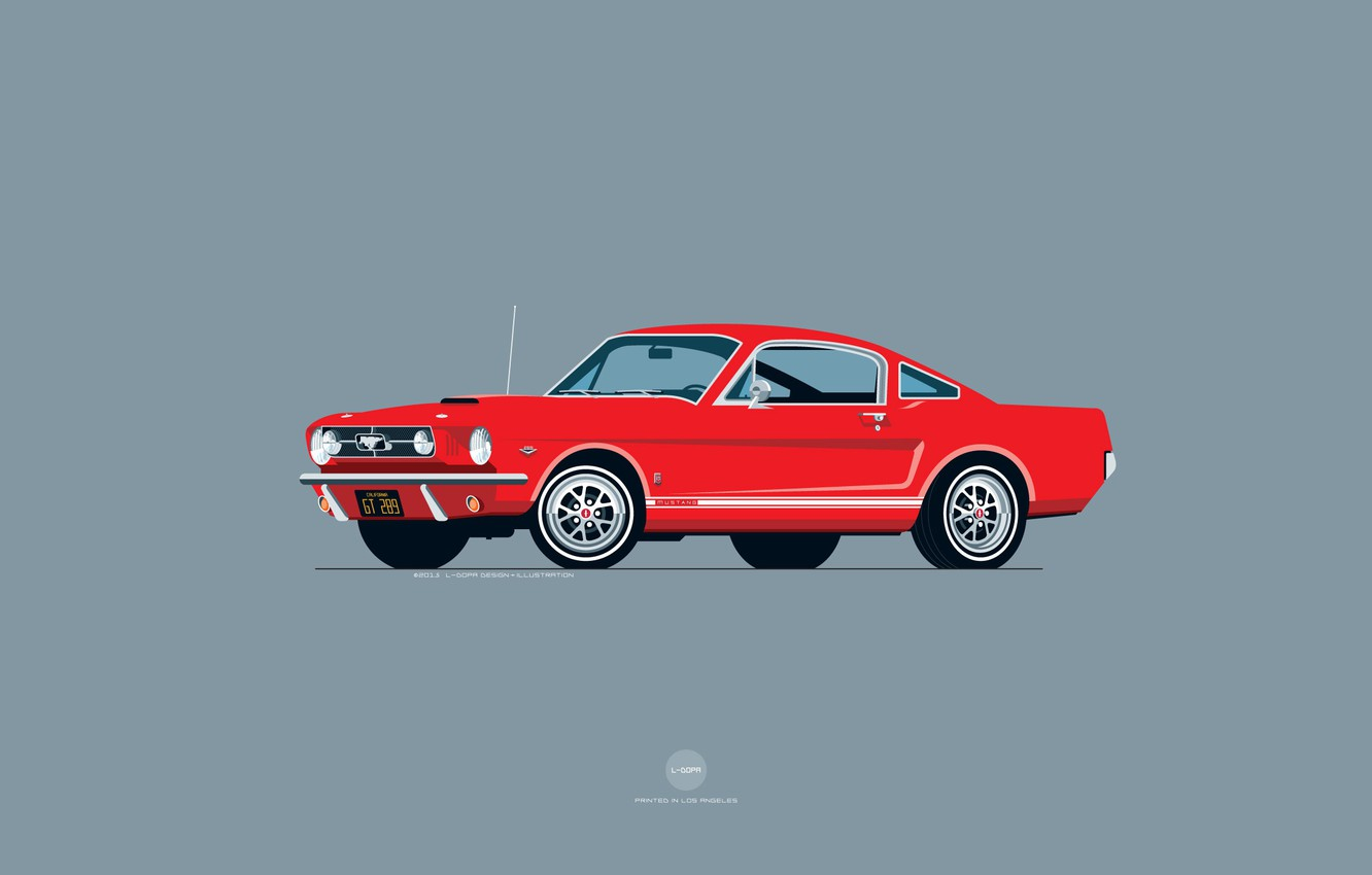 Wallpaper Mustang Ford Red Auto Minimalism Figure