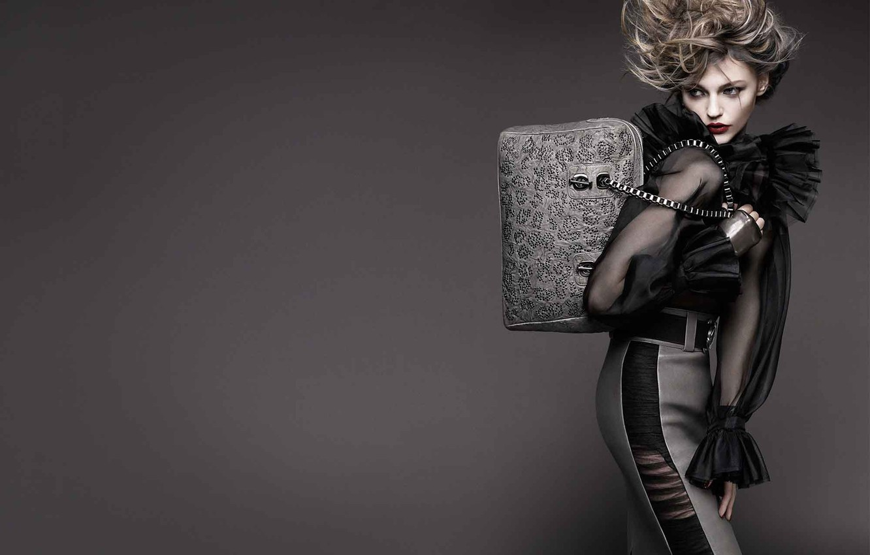 Photo wallpaper dress, bag, hairstyle, grey background, fashion, chic, Pivovarova, silver