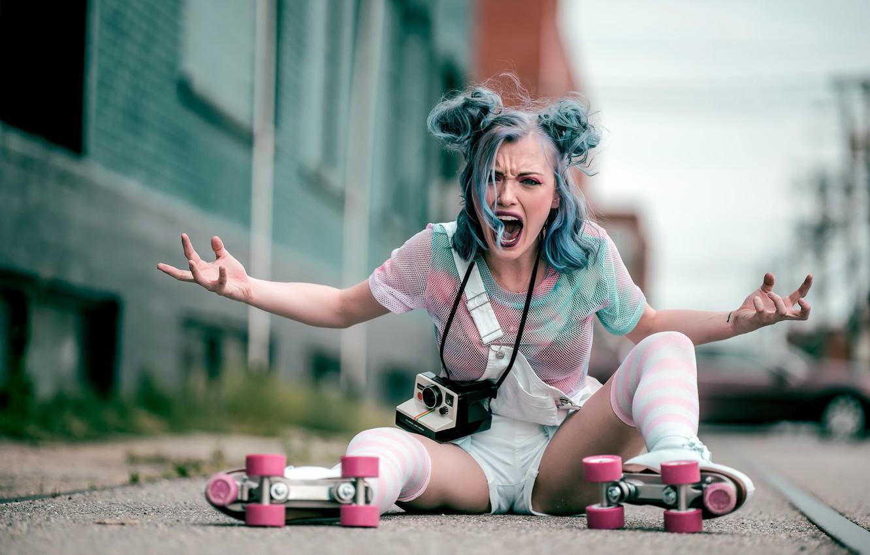 Photo wallpaper girl, mood, emotion, roller skates