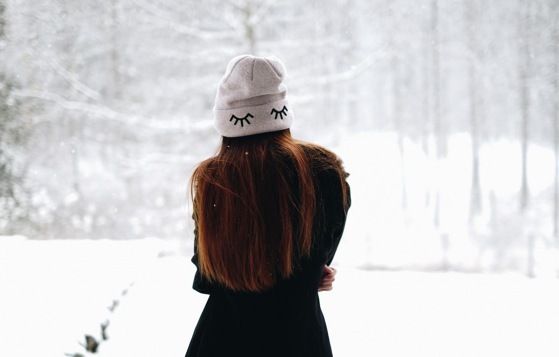 Photo wallpaper winter, girl, hat, hair, back, coat