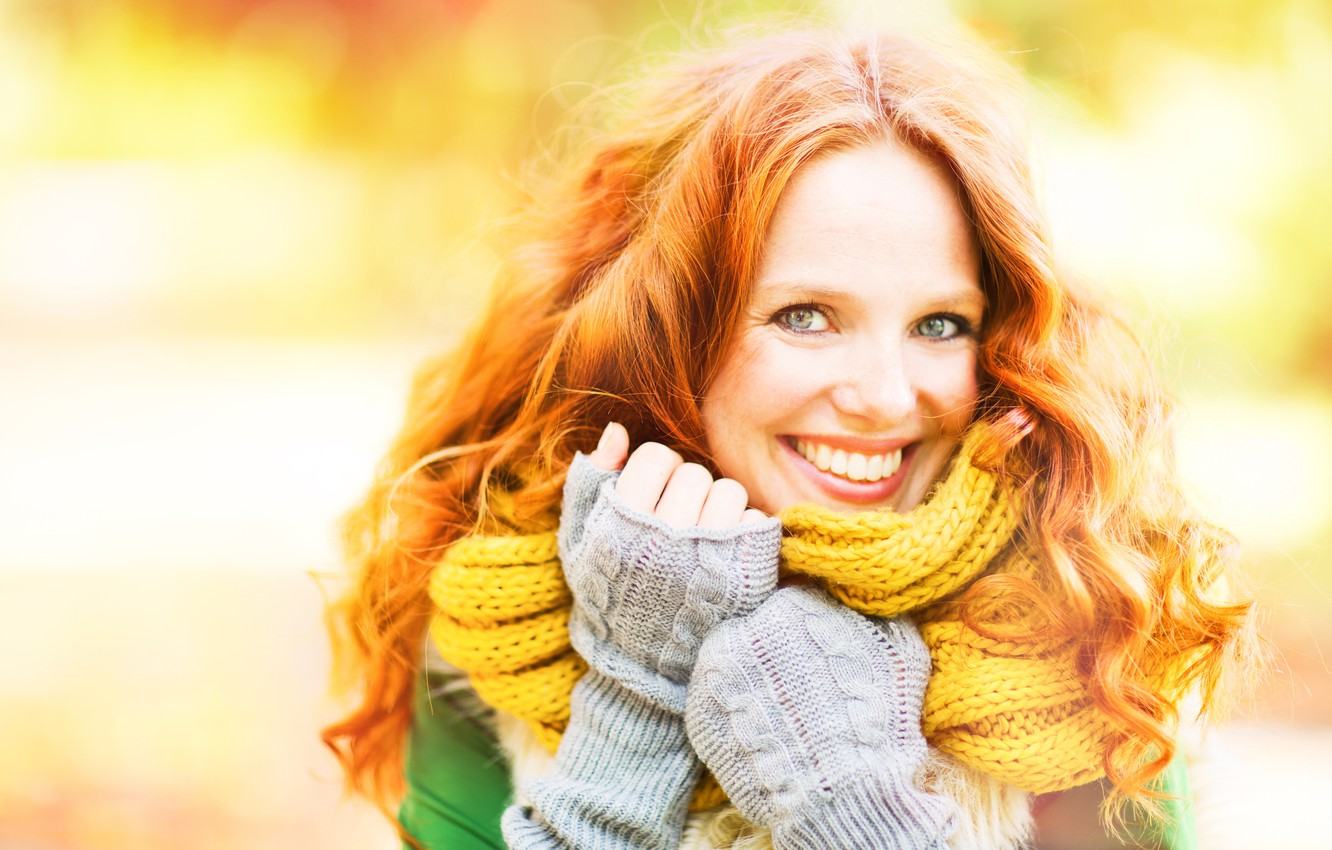 Photo wallpaper autumn, girl, smile, background, mood, scarf, hairstyle, red, sweater, bokeh