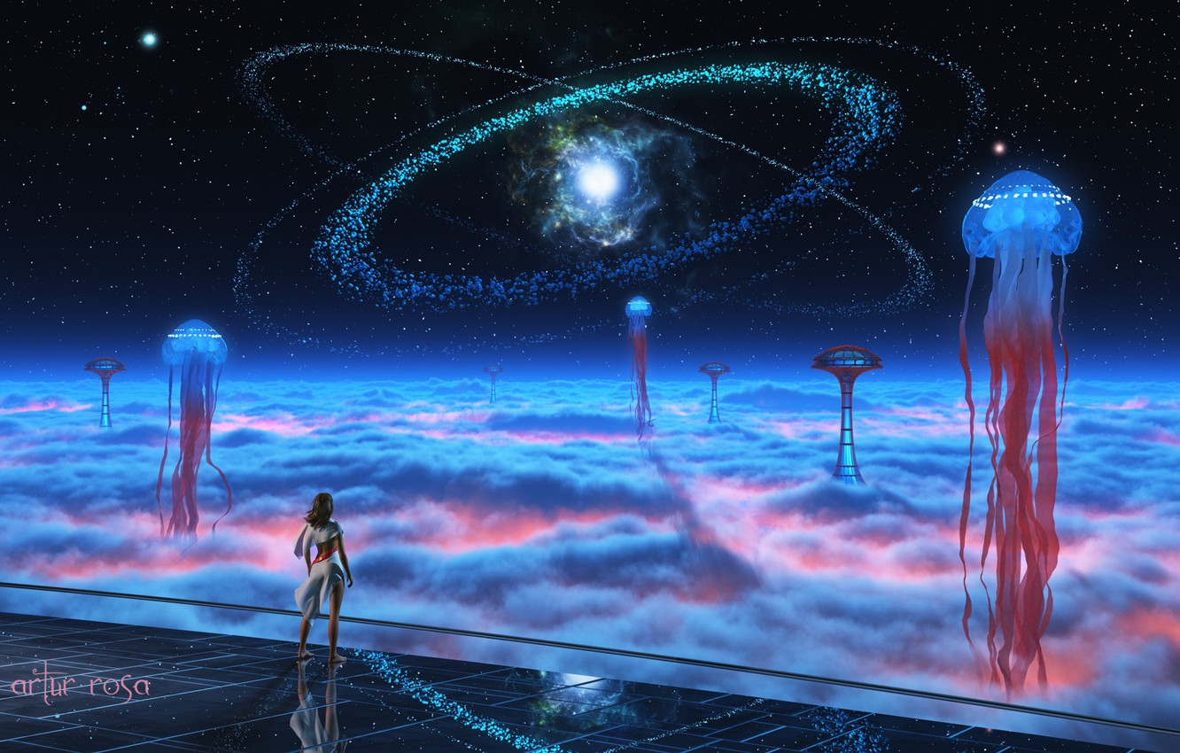Photo wallpaper girl, space, stars, clouds, fantasy, fiction, people, tower, Medusa, art