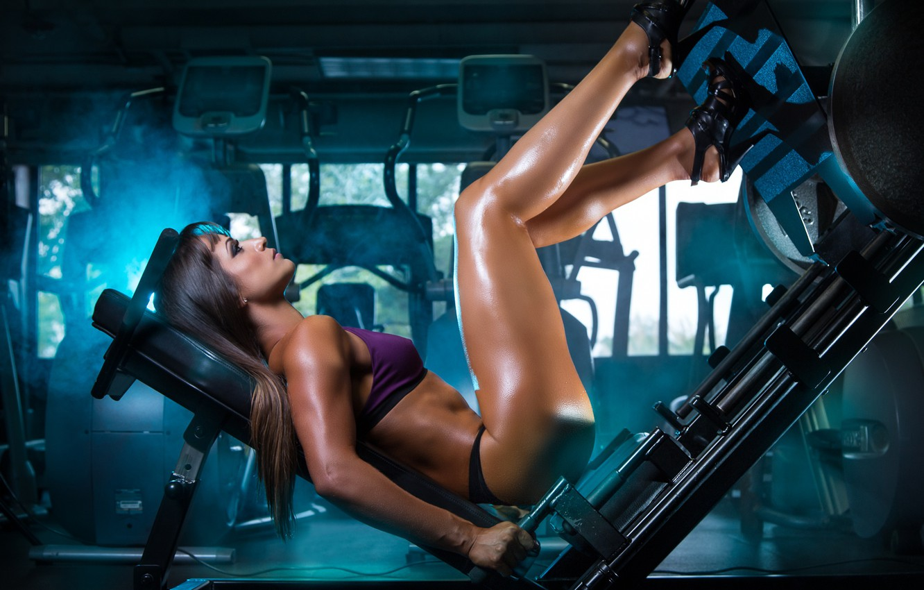 Photo wallpaper girl, feet, fitness, the gym, trainer