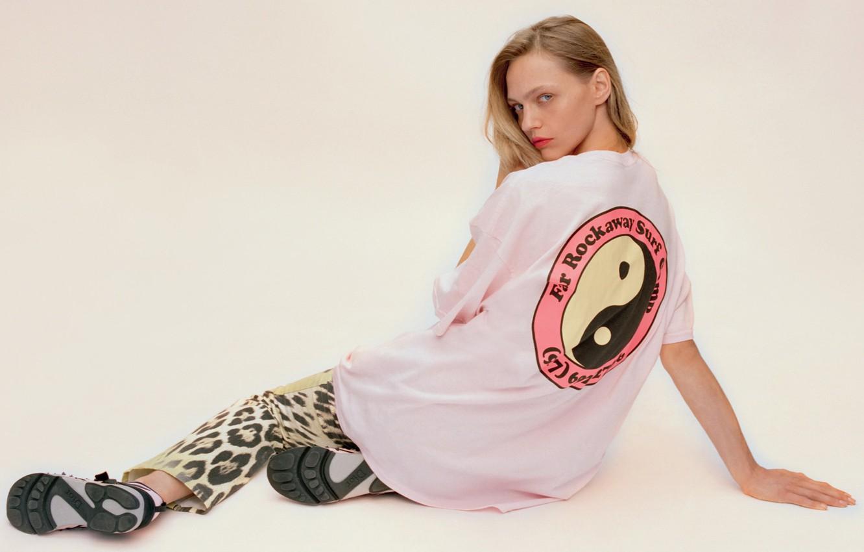 Photo wallpaper blonde, Yin-Yang, Russian model, SashaPivovarova., leopard pants