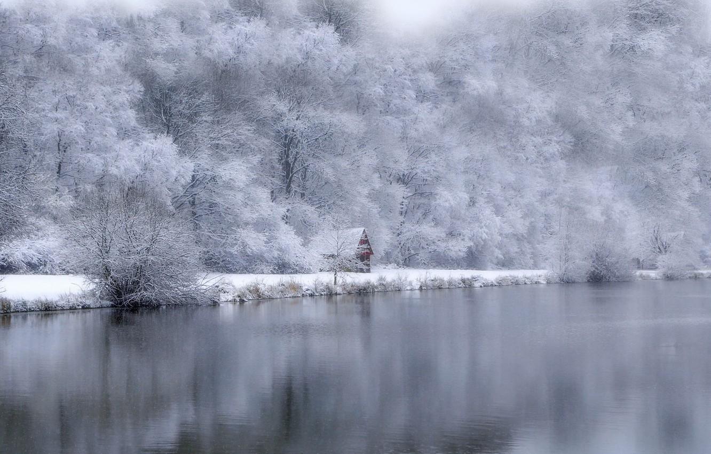 Photo wallpaper winter, lake, house
