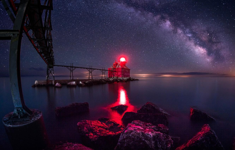 Photo wallpaper the sky, light, night, red, bridge, lake, stones, shore, lighthouse, stars, USA, Wisconsin, Sturgeon Bay