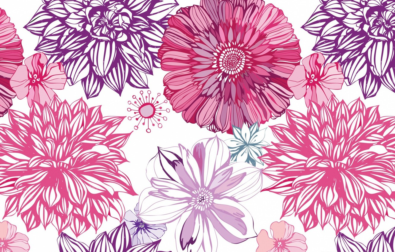 Photo wallpaper flowers, Wallpaper, vector, petals