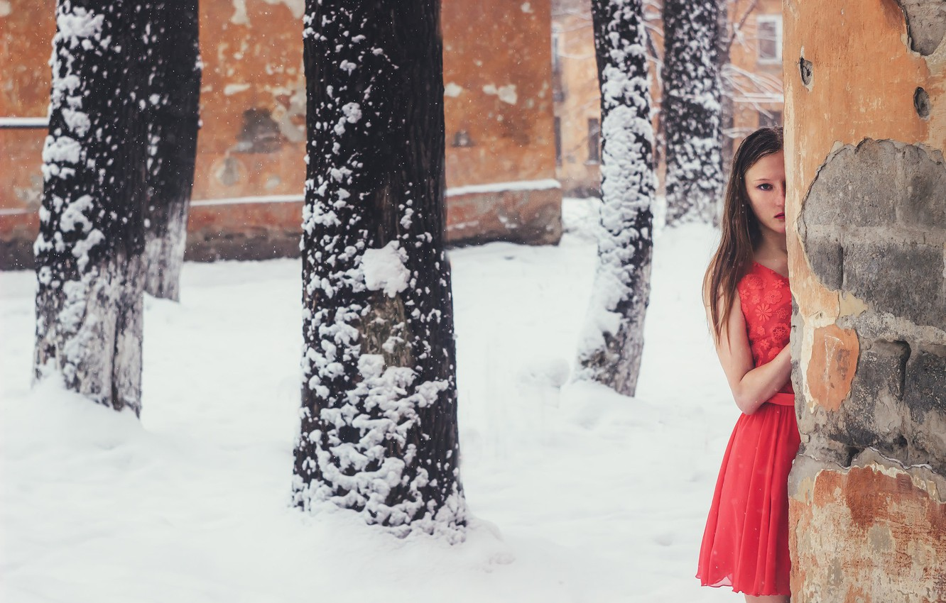 Photo wallpaper girl, snow, wall, dress, Yevhen Seleznyov