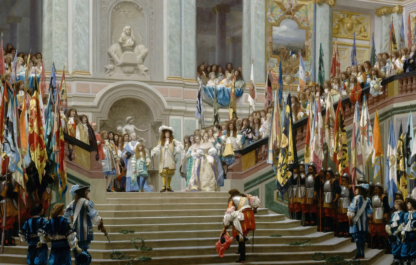 Photo wallpaper interior, picture, history, genre, Jean-Leon Gerome, Reception of the Prince of condé by king Louis …
