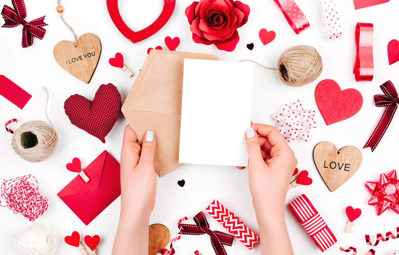 Photo wallpaper love, romance, hearts, red, love, romantic, hearts, Valentine's Day, gift, decoration
