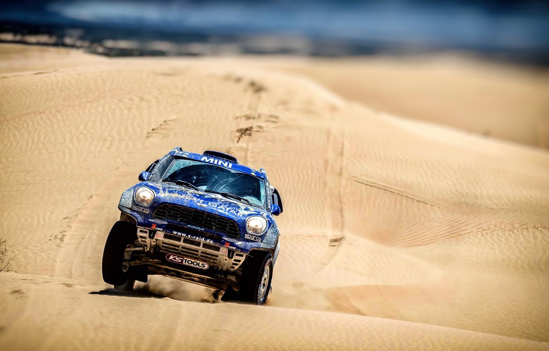 Photo wallpaper Sand, Mini, Blue, Sport, Desert, Speed, Race, Rally, SUV, Rally, The front, Dune, X-Raid Team, …