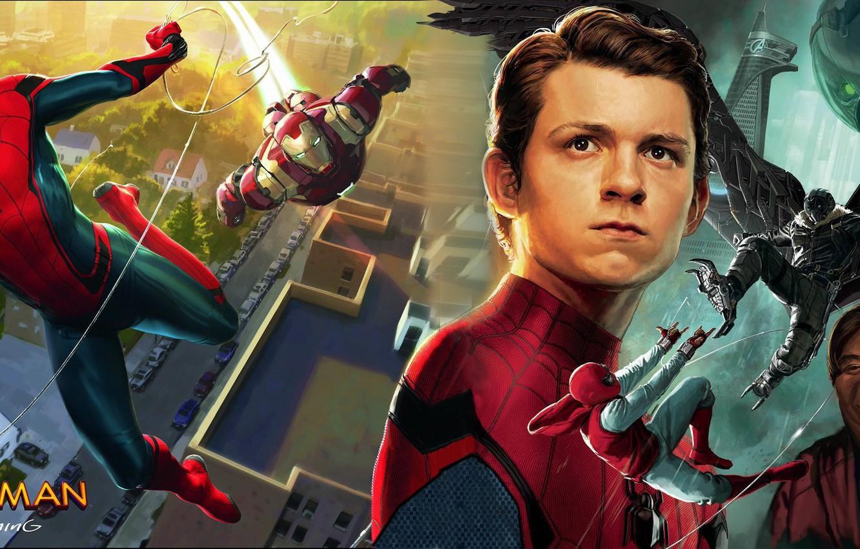 Wallpaper Robert Downey Jr Spider Man Homecoming Tom Holland
