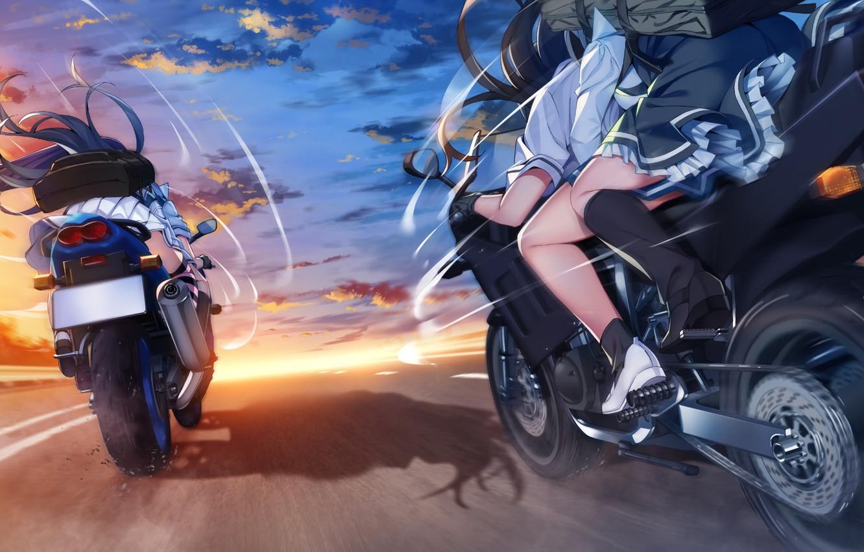 Photo wallpaper road, girls, motorcycles, speed, anime, Grisaia: Phantom Trigger