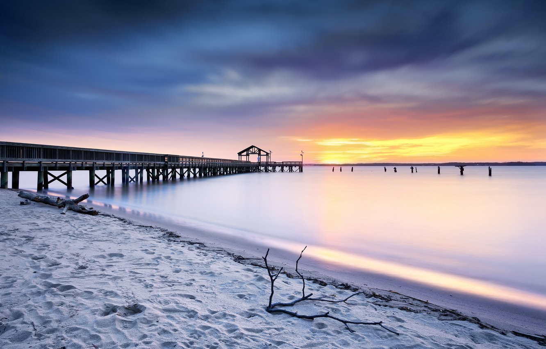 Photo wallpaper sea, sunset, bridge, United States, Prince William, Virginia