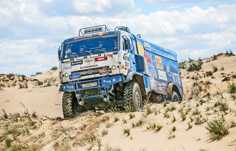 Photo wallpaper Sport, Speed, Truck, Race, Master, Day, Russia, Kamaz, KAMAZ, Best, Master, Redbull, The great steppe-the …