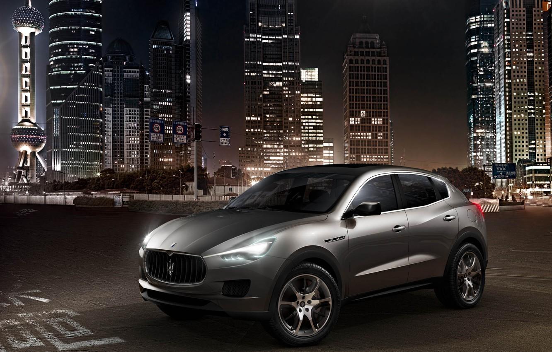 Photo wallpaper concept, metallic silver, Maserati Kubang, high-rise buildings