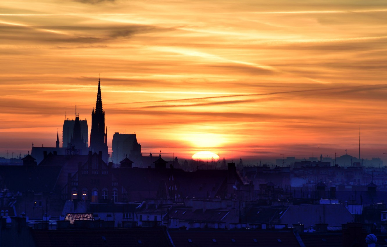 Photo wallpaper sunset, the city, Wroclaw