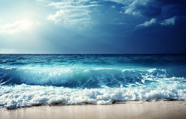 Photo wallpaper sea, wave, beach, shore, beach, sea, seascape, sand, wave