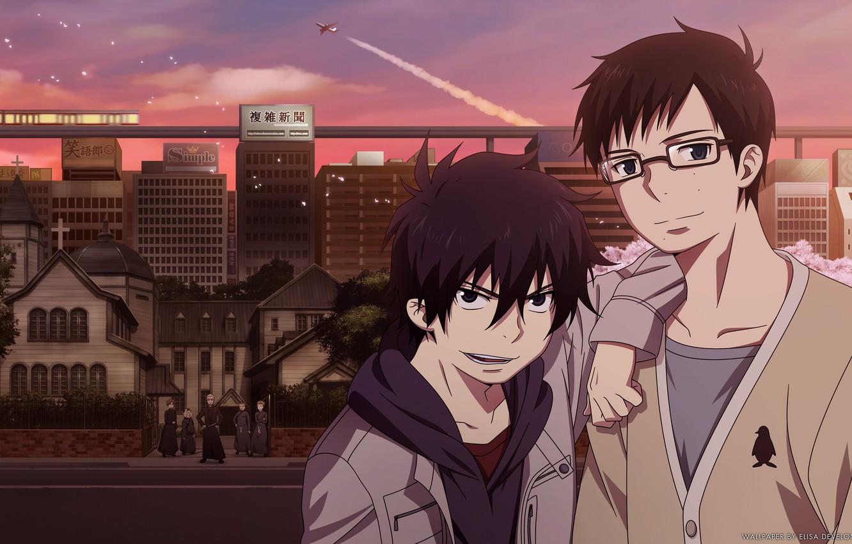 Photo wallpaper anime, art, Ao no Exorcist, Rin, Yukio Okumura, Blue Exorcist