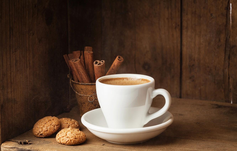 Photo wallpaper coffee, cookies, Cup, cinnamon, cakes