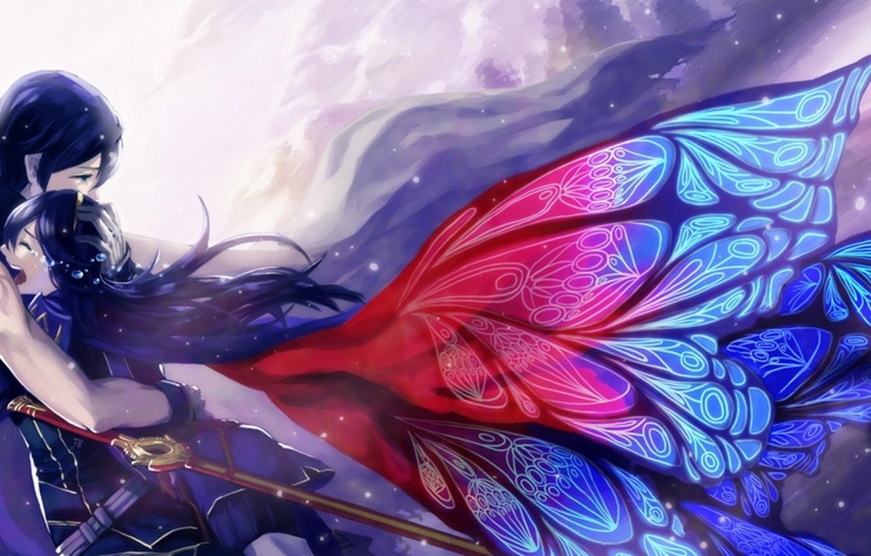 Photo wallpaper love wings anime tears art pair anime art