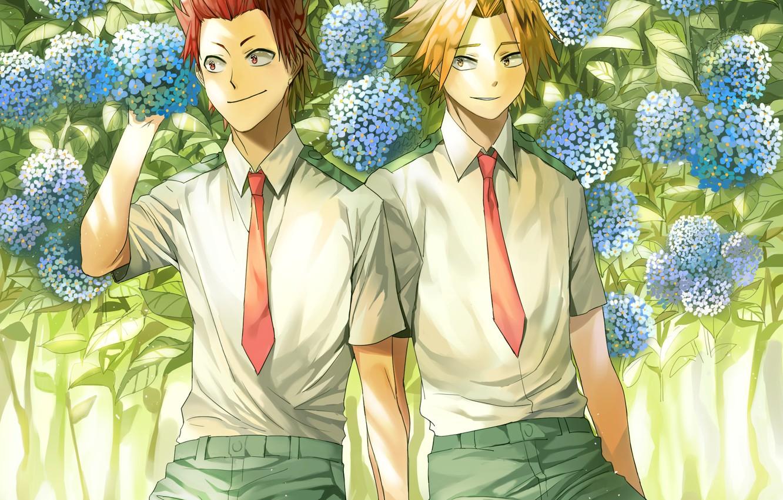 Photo wallpaper flowers, anime, guys, Boku No Hero Academy, My heroic academia