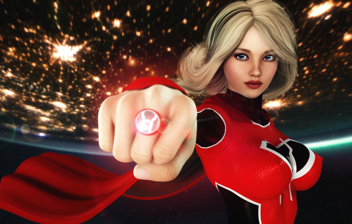 Wallpaper Red Girl Supergirl Ring Planet Graphic