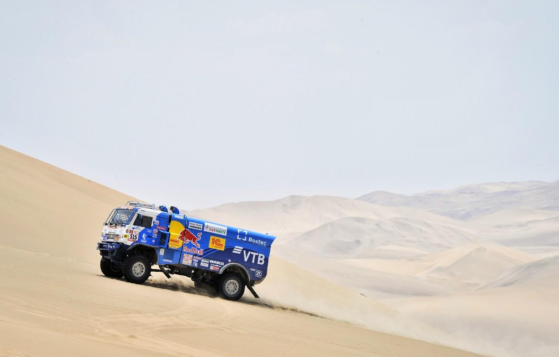 Photo wallpaper Sand, Auto, Sport, Truck, Race, Master, Hills, Russia, Kamaz, Rally, Dakar, KAMAZ-master, Dakar, Rally, KAMAZ, …