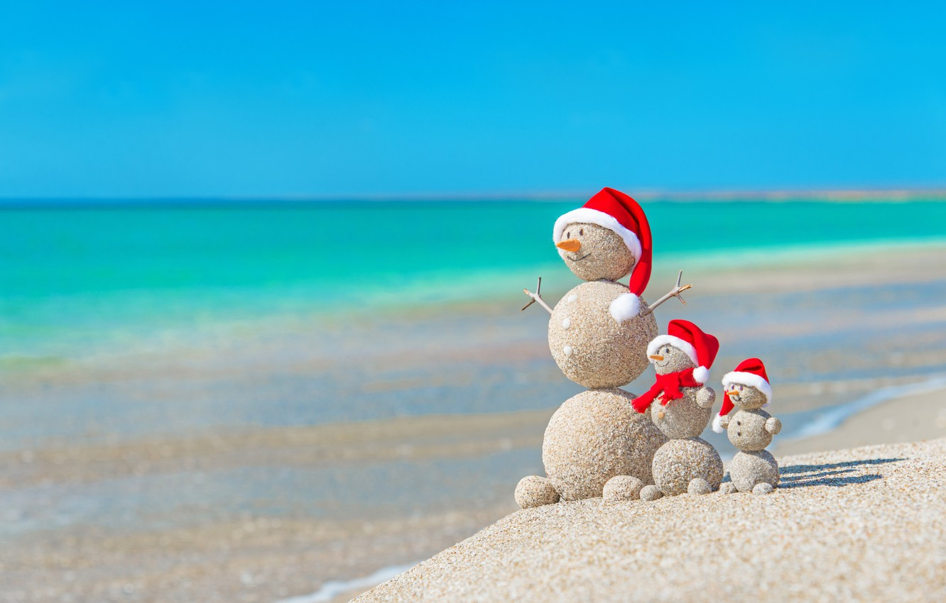 Photo wallpaper sand, sea, beach, New Year, Christmas, snowman, happy, Christmas, beach, sea, sand, New Year, Merry …