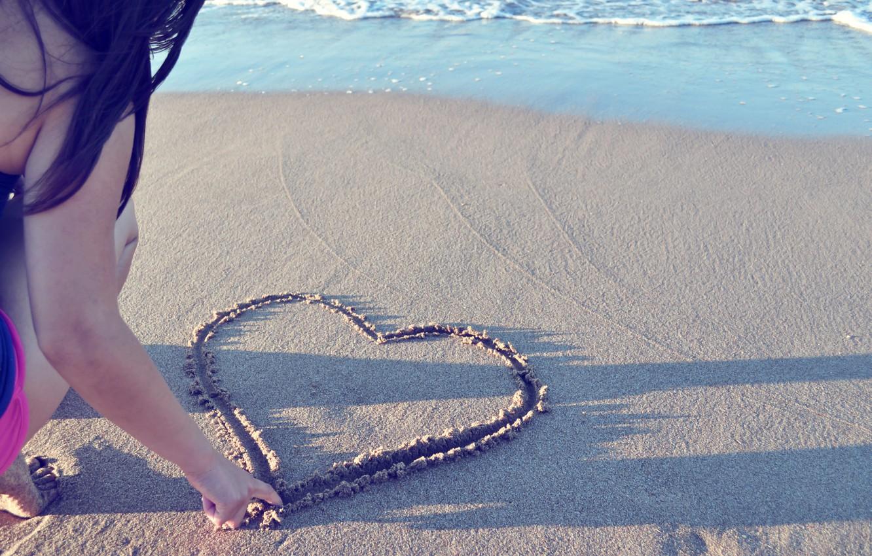 Photo wallpaper sand, beach, girl, mood, heart