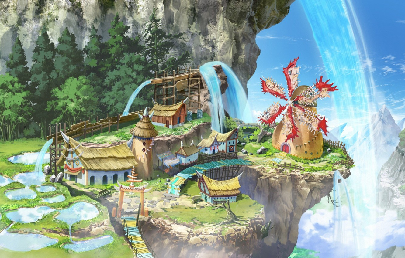 Wallpaper Anime Mountains Waterfall Village Valley Asian