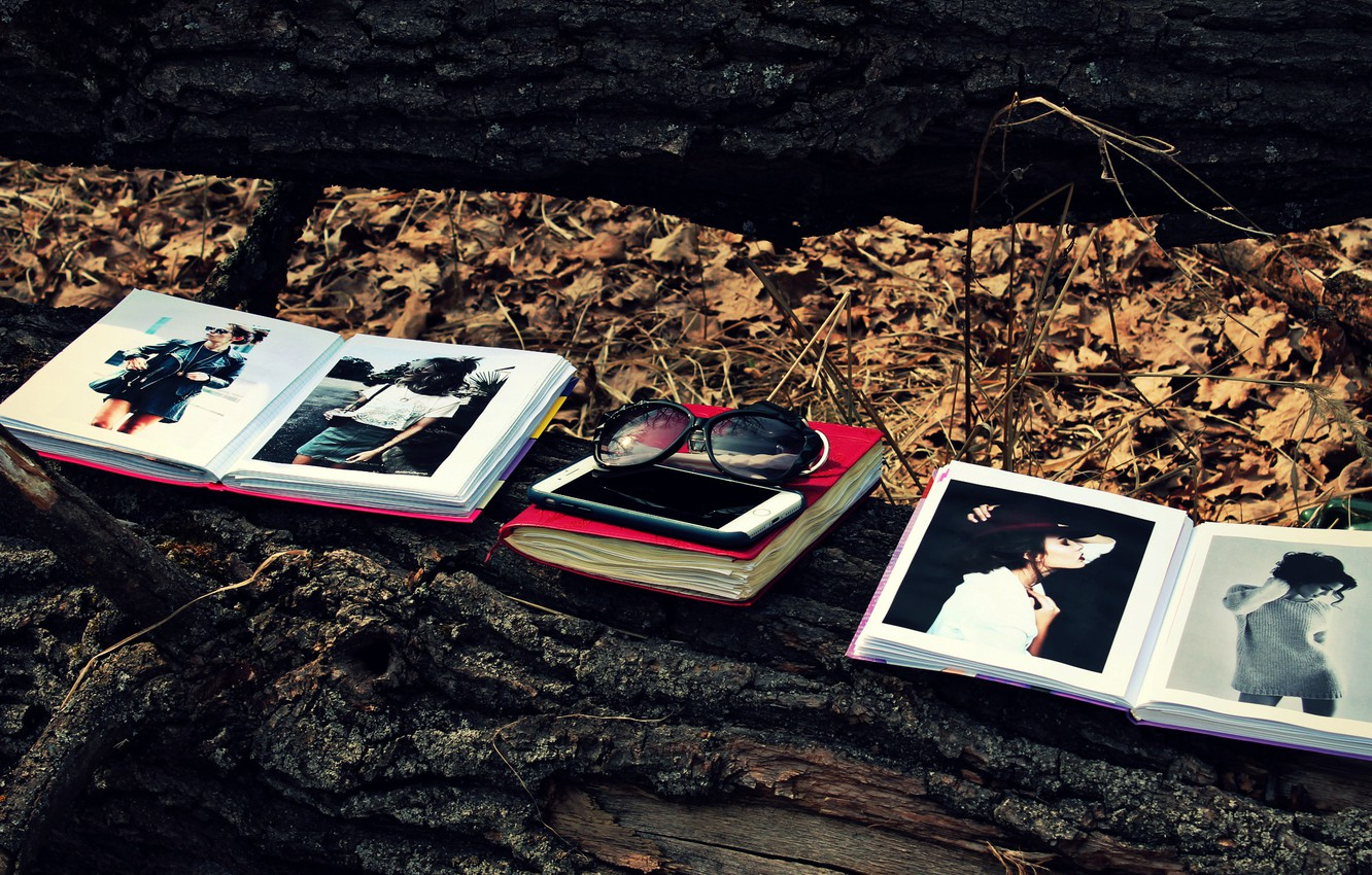 Photo wallpaper forest, leaves, tree, foliage, books, glasses, book, phone, log, iphone, forest, model, leaves, sunglasses, tree, …