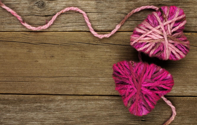 Photo wallpaper heart, love, thread, wood, romantic, hearts, valentine`s day