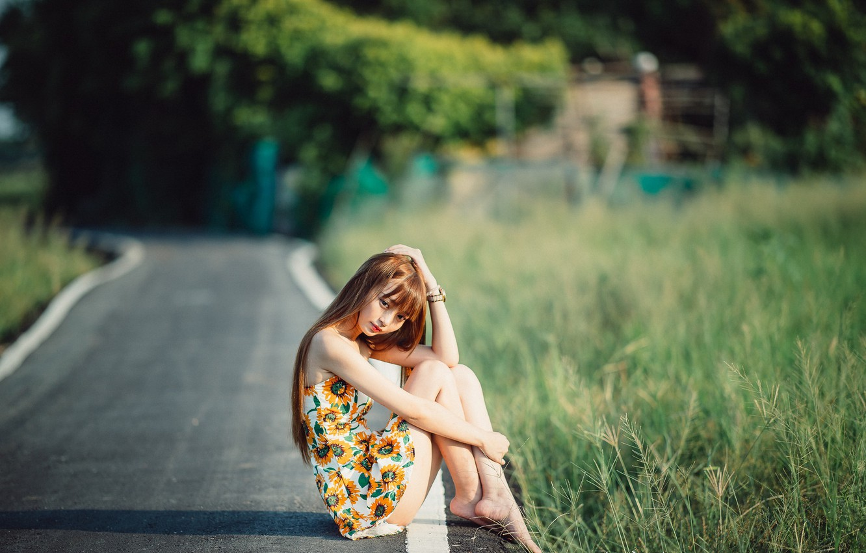 Photo wallpaper road, girl, Asian