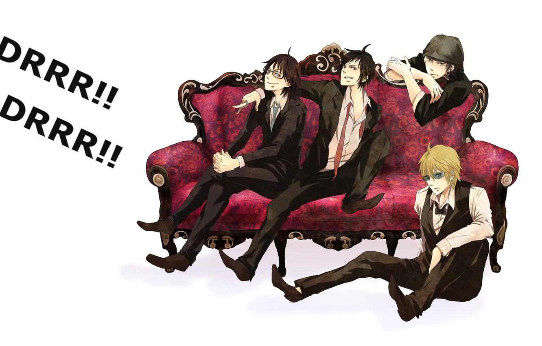 Photo wallpaper glasses, tie, white background, guys, on the couch, grin, durarara!!, black suit, Heiwajima Shizuo, Orihara …
