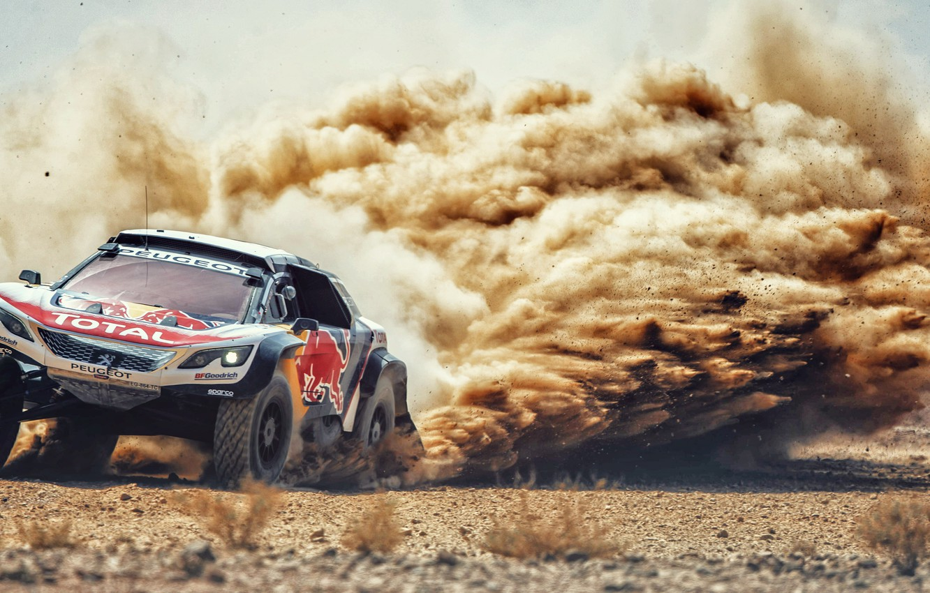 Photo wallpaper Sand, Auto, Dust, Sport, Machine, Speed, Stones, Race, Skid, Peugeot, Red Bull, Rally, Dakar, Dakar, …