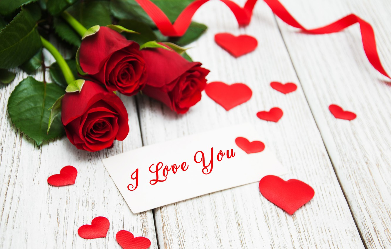 Wallpaper Roses Red Love Buds I Love You Heart Flowers Romantic Roses Red Roses Valentine S Day Images For Desktop Section Prazdniki Download